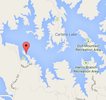 carters lake damsite ramp location map